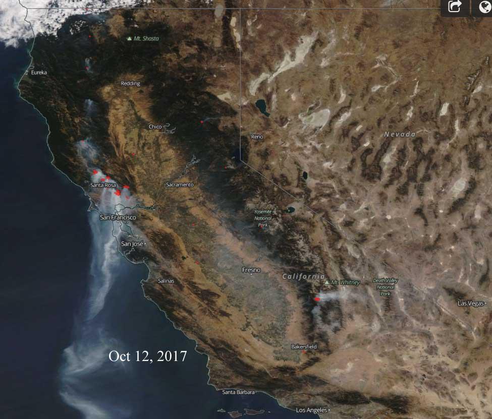 Satellite photos of California wildfires