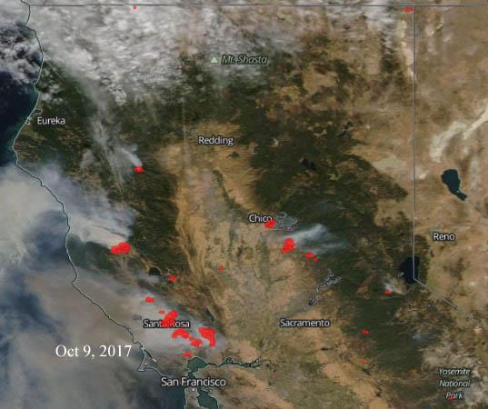 Satellite photo California wildfires