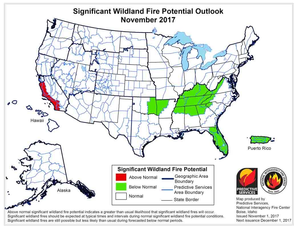 wildfire potential November 2017