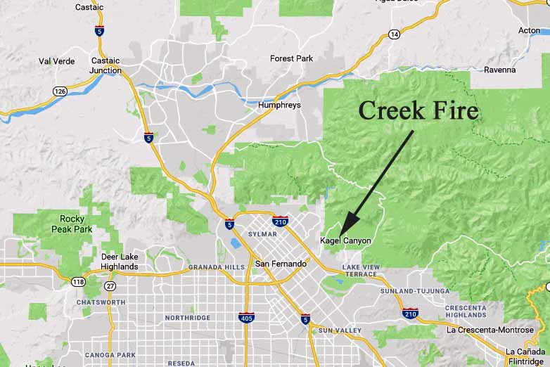 Map showing location Creek Fire Los Angeles