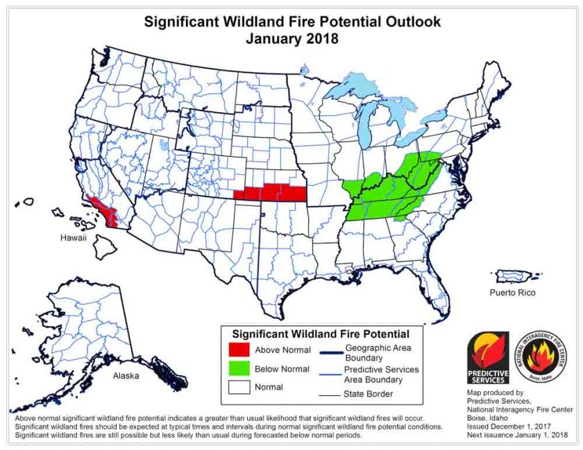Wildfire potential January