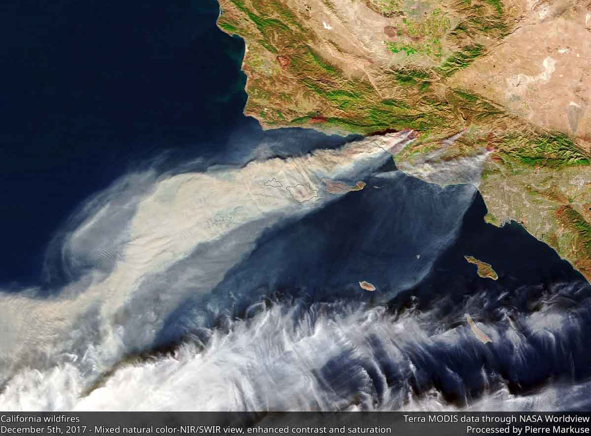 SoCal wildfires as seen from space