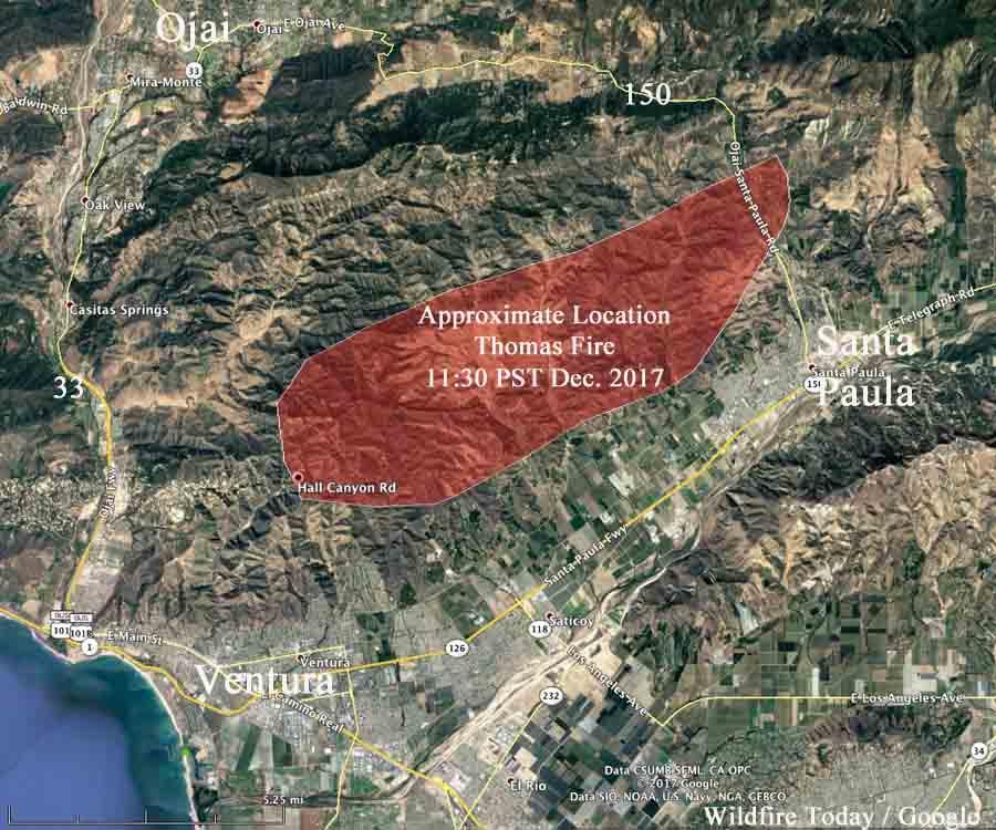 Thomas Fire Causes Evacuations Near Santa Paula California