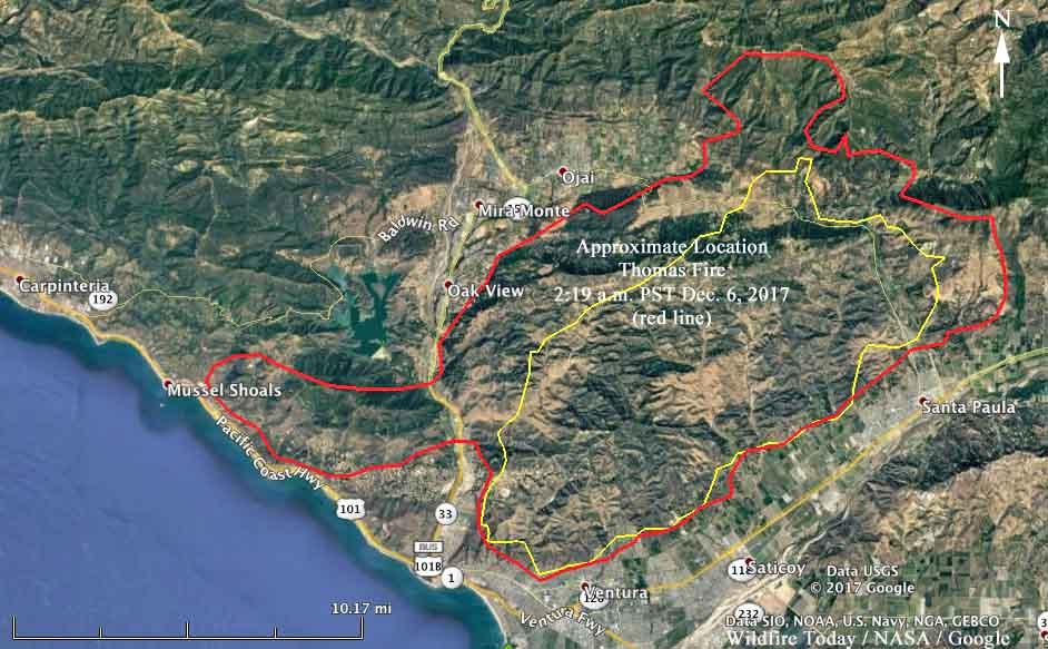 Thomas Fire Almost Surrounds Ojai California Wildfire Today