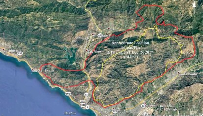 Thomas Fire Almost Surrounds Ojai California Wildfire Today