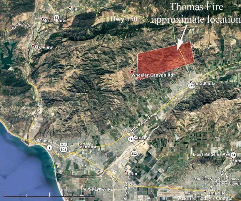 map Thomas Fire Santa Paula
