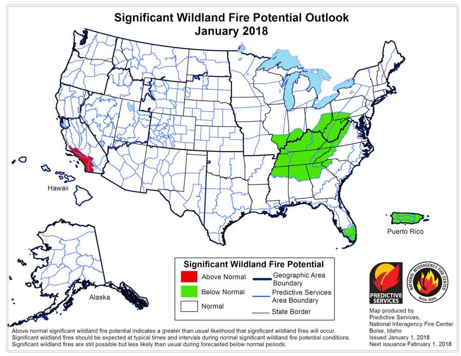 Wildfire potential, January through April