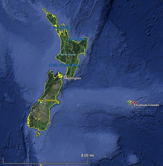 Chatham Islands map new zealand
