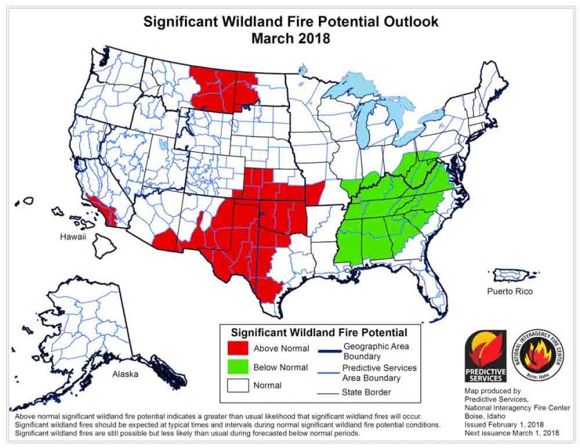 wildfire potential March