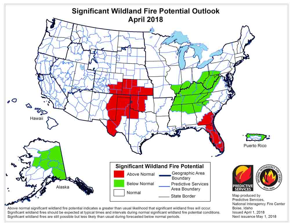 Wildfire potential, April through July