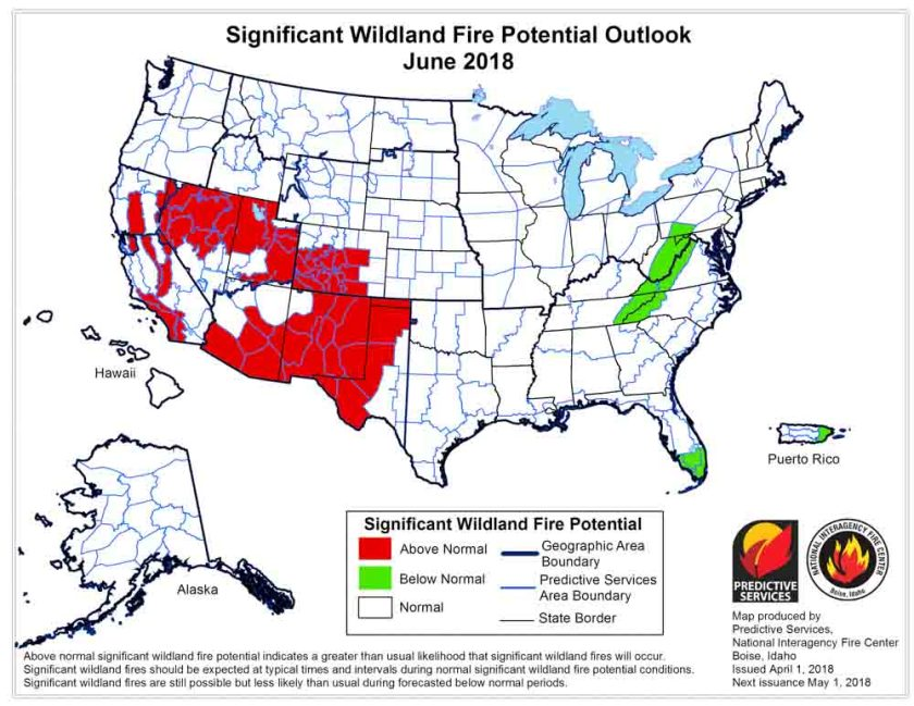 wildfire potential June 2018
