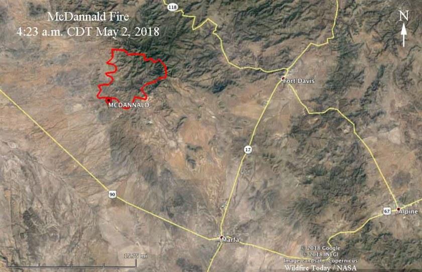 Map of the McDannald Fire