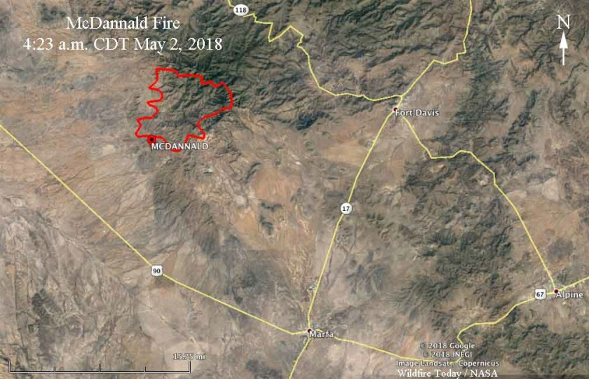 Map of the McDannald Fire