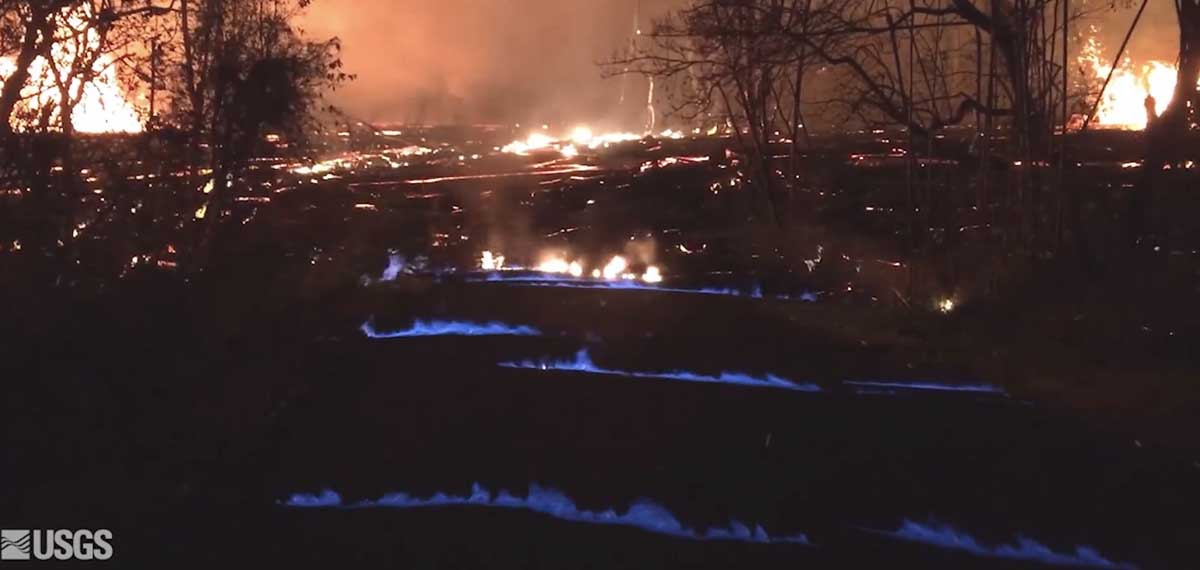 Vegetation buried by lava produces methane burning with blue flame