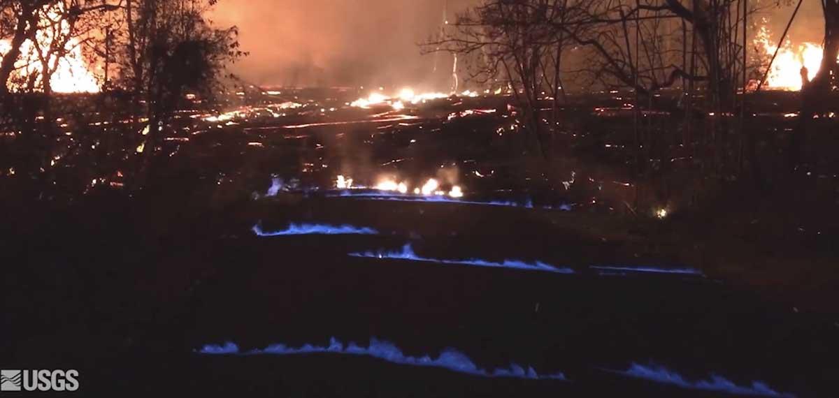 vegetation methane flame volcano lava