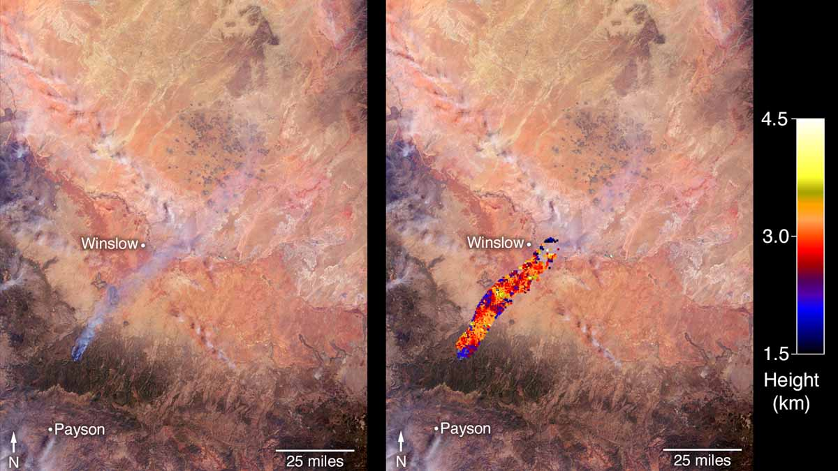NASA satellite measures height of smoke column on Tinder Fire