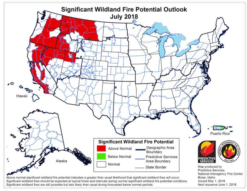 wildfire potential July