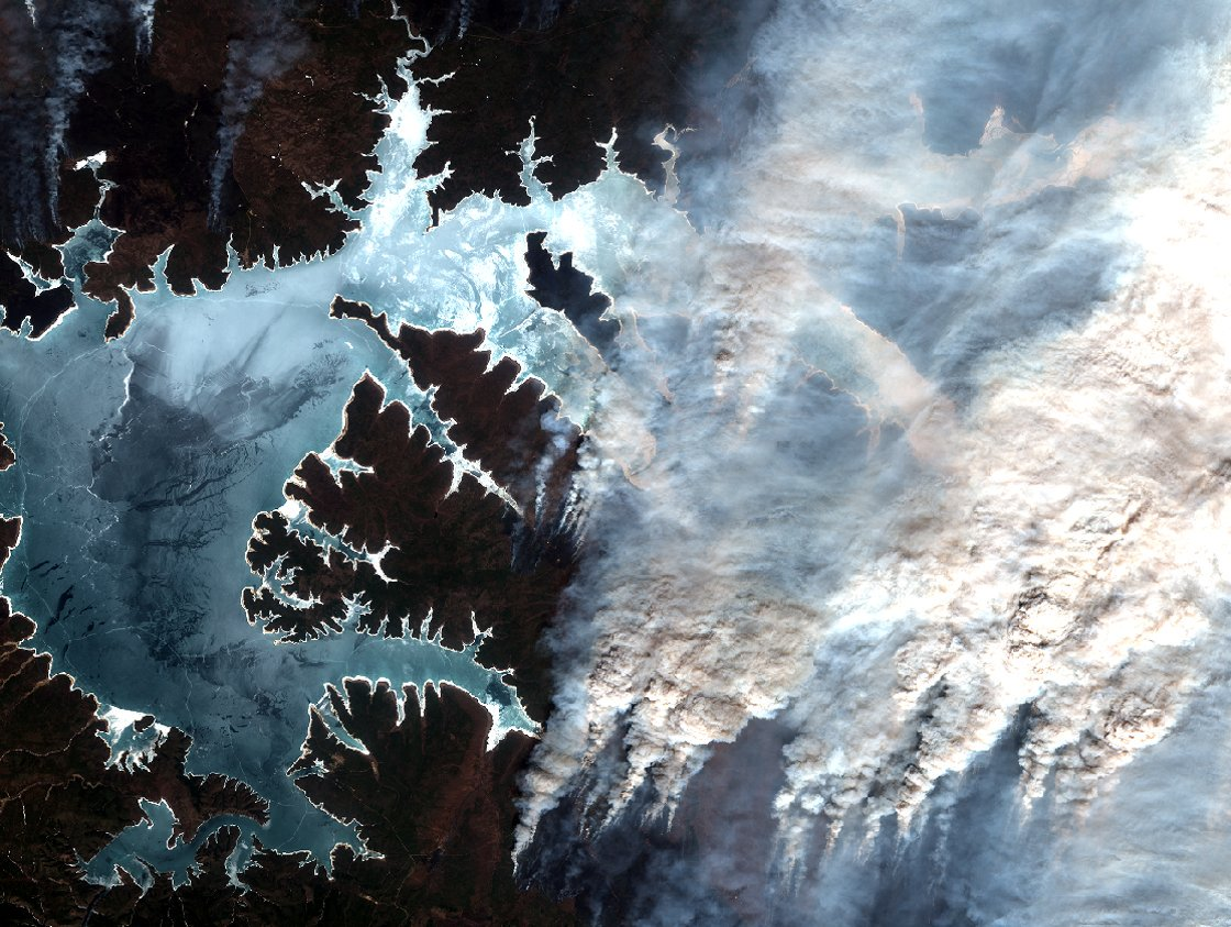 Satellite photos of wildfires in Siberia