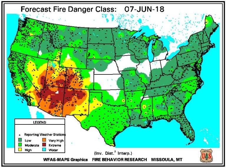 fire danger June 7, 2018