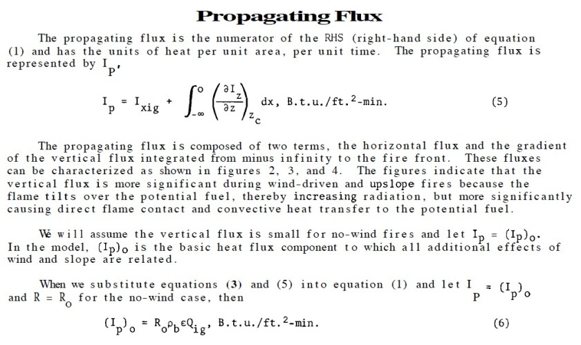 rothermel propagating flux