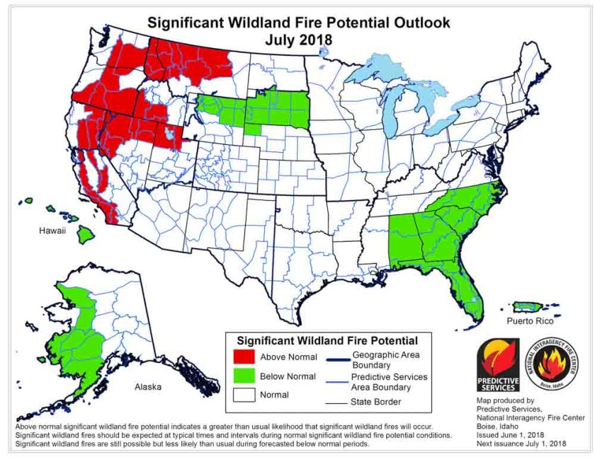 wildfire potential outlook map July