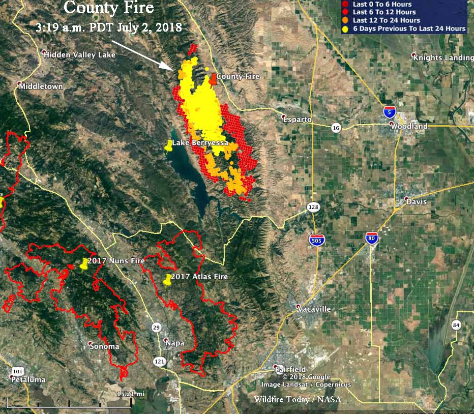 Lake Berryessa Fire Map.County Fire Roars Through The Hills Above Lake Berryessa Wildfire