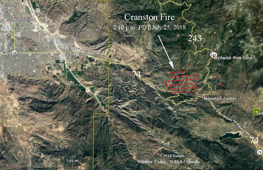 Fire Map California July 2018.Cranston Fire Causes Evacuations East Of Hemet California