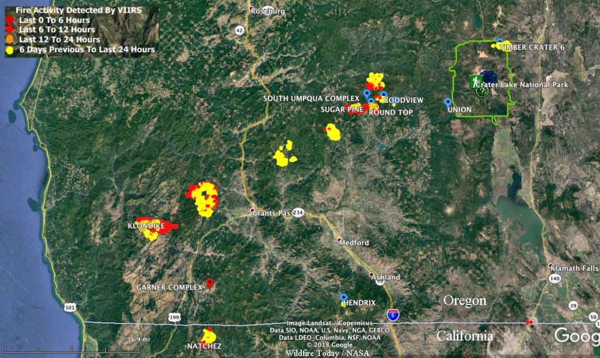map fires southwest Oregon