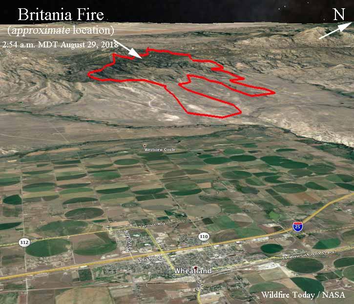3-d map Britania Mountain Fire