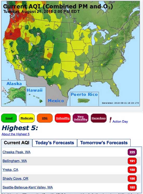 "Some areas in the Northwest have ""unhealthy"" air quality Wildfire"