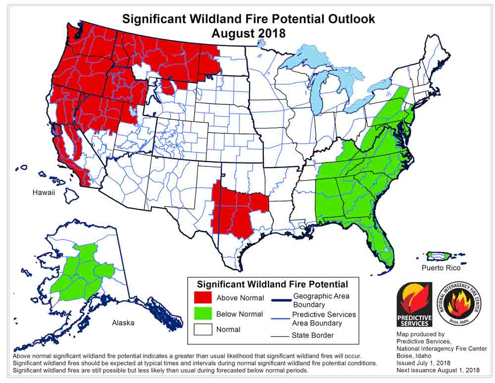 August 2018 wildfire potential