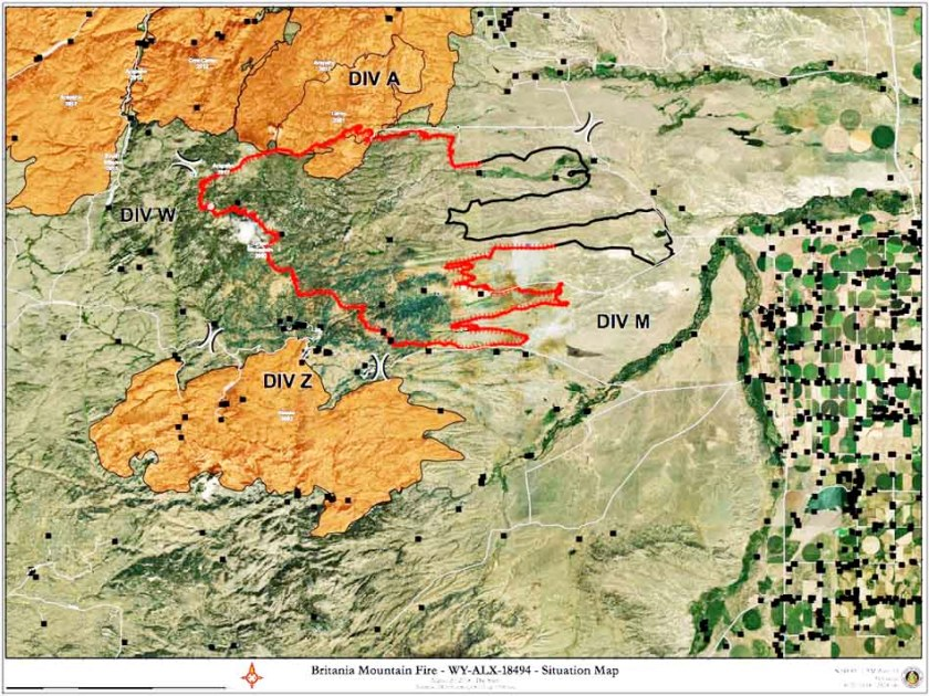 Map of the Britania Mountain Fire