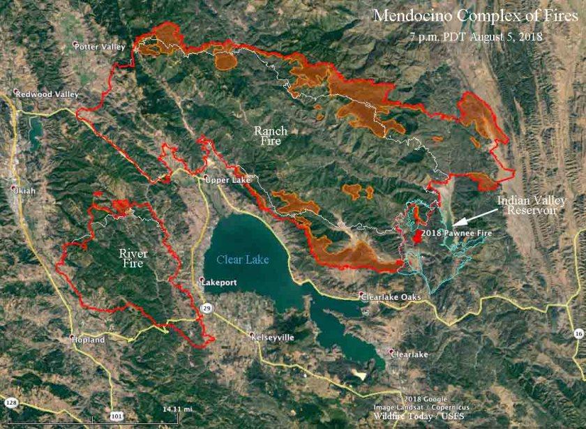 map Mendocino Complex fires