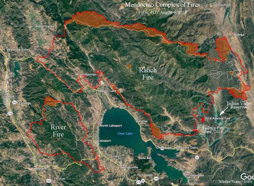 map Mendocino complex Fires California wildfires