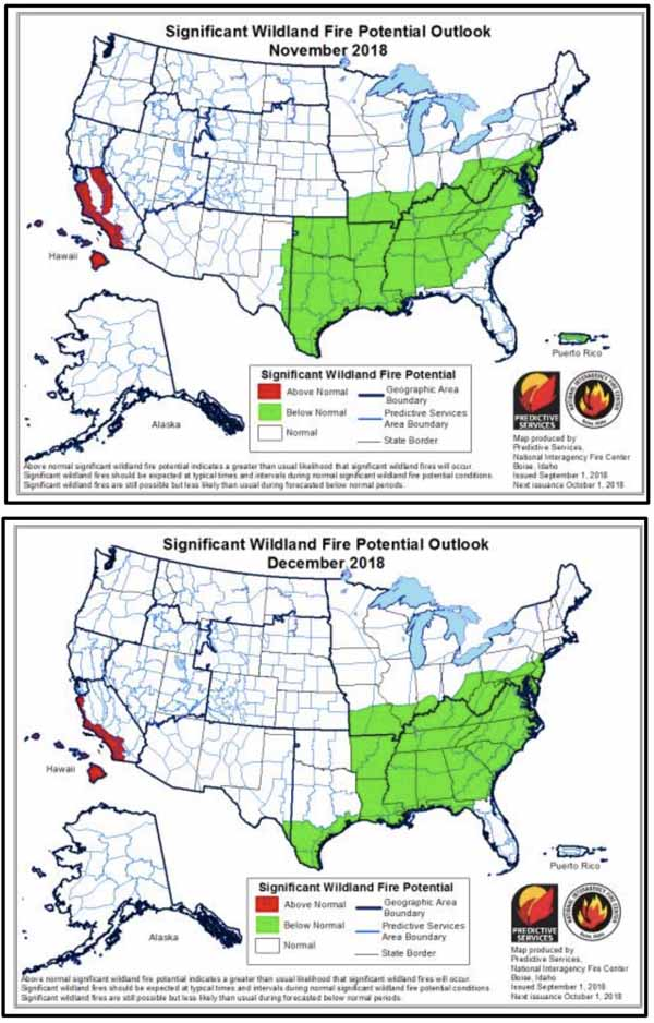 wildfire potential November December