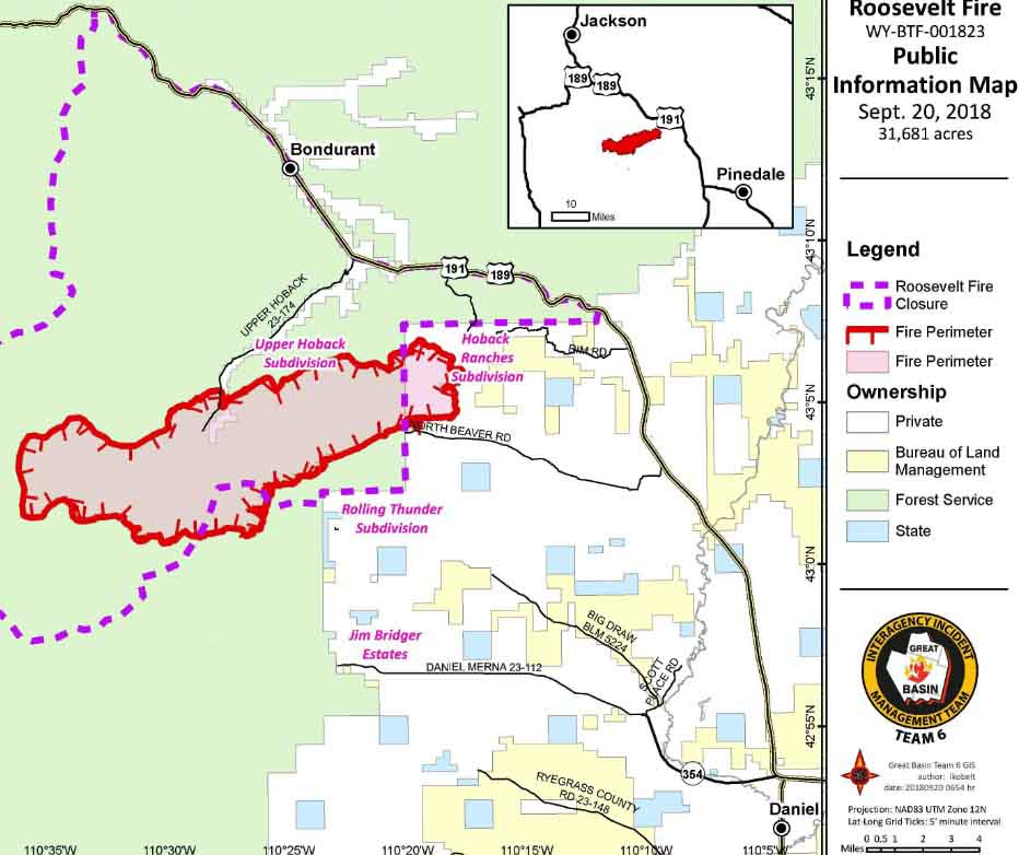 Roosevelt Fire in western Wyoming grows to over 31,000 acres