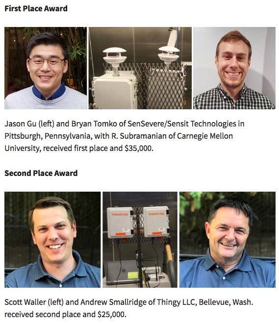 Sensor Challenge Winners