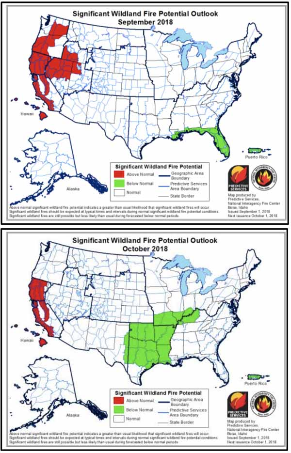 Wildfire potential September through December Wildfire Today