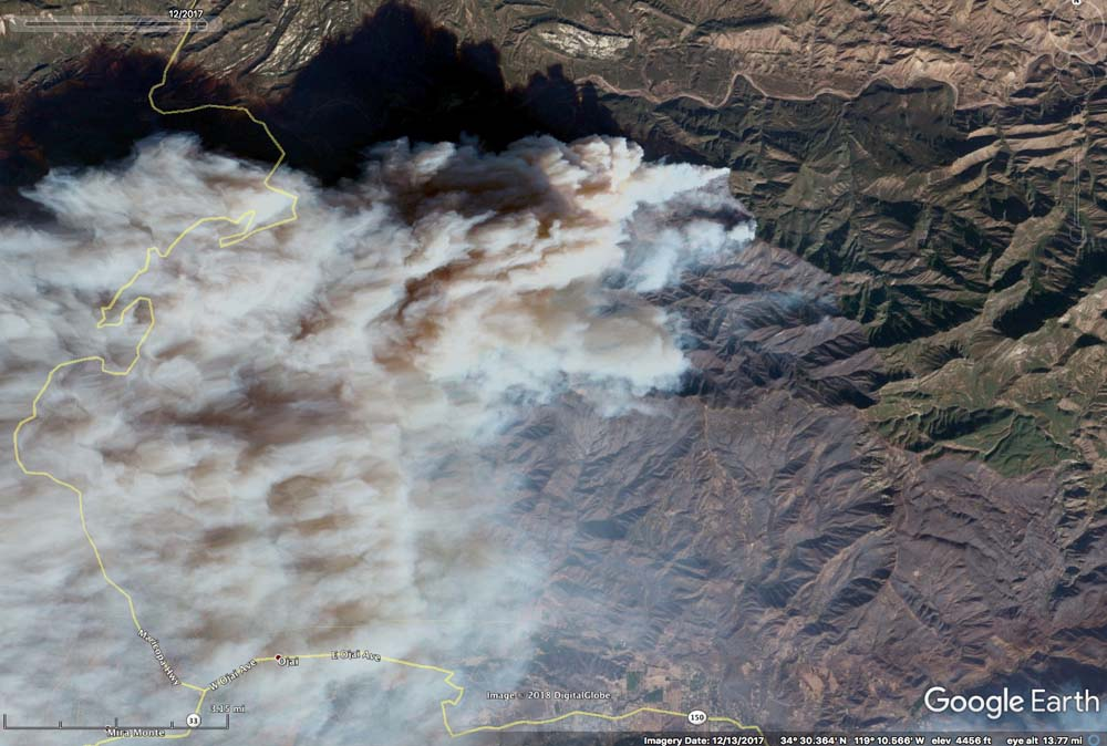 Google Earth acquires imagery of Thomas Fire