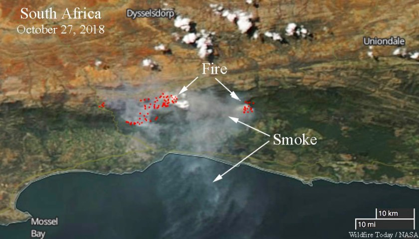 Fires in South Africa. Satellite image