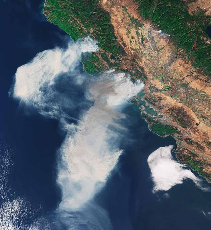 satellite photo northern California wildfires October 2017