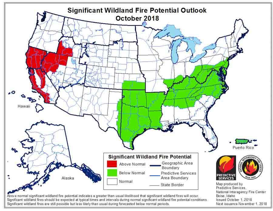 wildfire potential October through January
