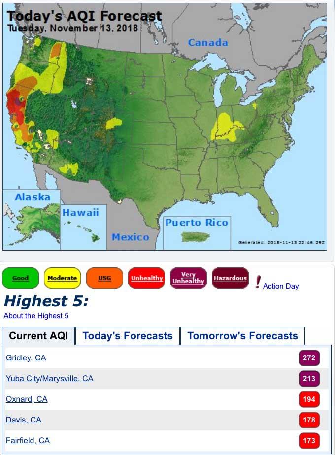 Air quality for November 13, 2018