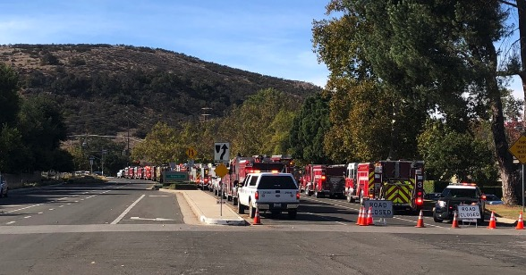 Fire engines staged Lake Sherwood Woolsey Fire