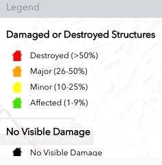 legend map fire structures damaged