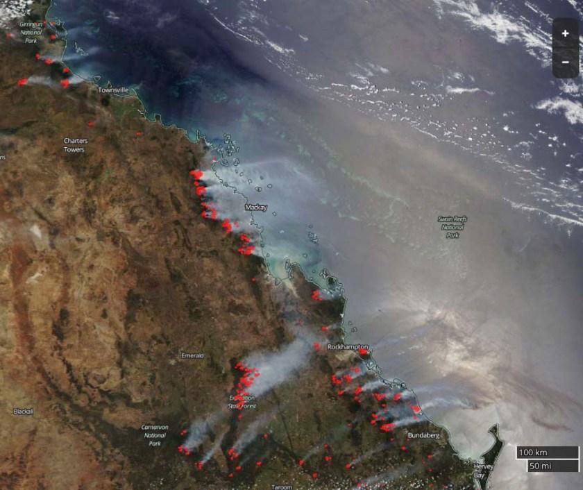map wildfires in Queensland, Australia