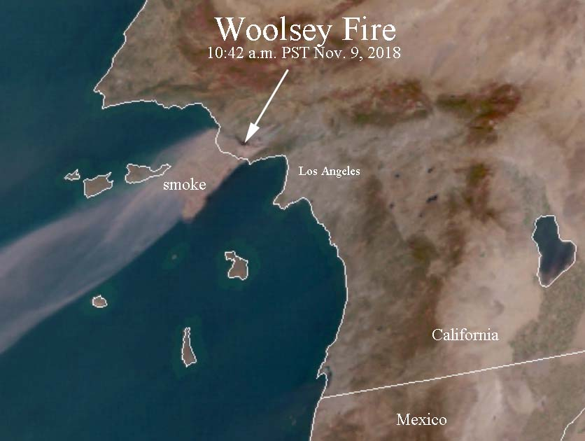 Satellite photo smoke Woolsey Fire
