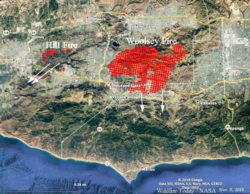 map Hill Fire Woolsey Fire