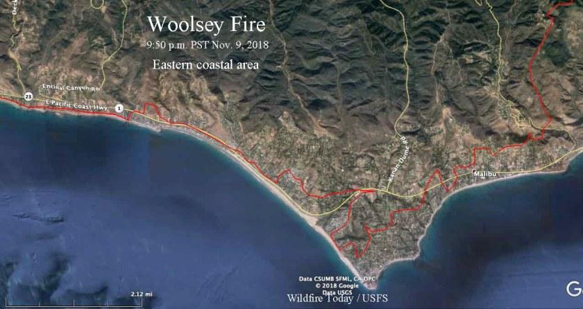 Woolsey Fire map coast Malibu