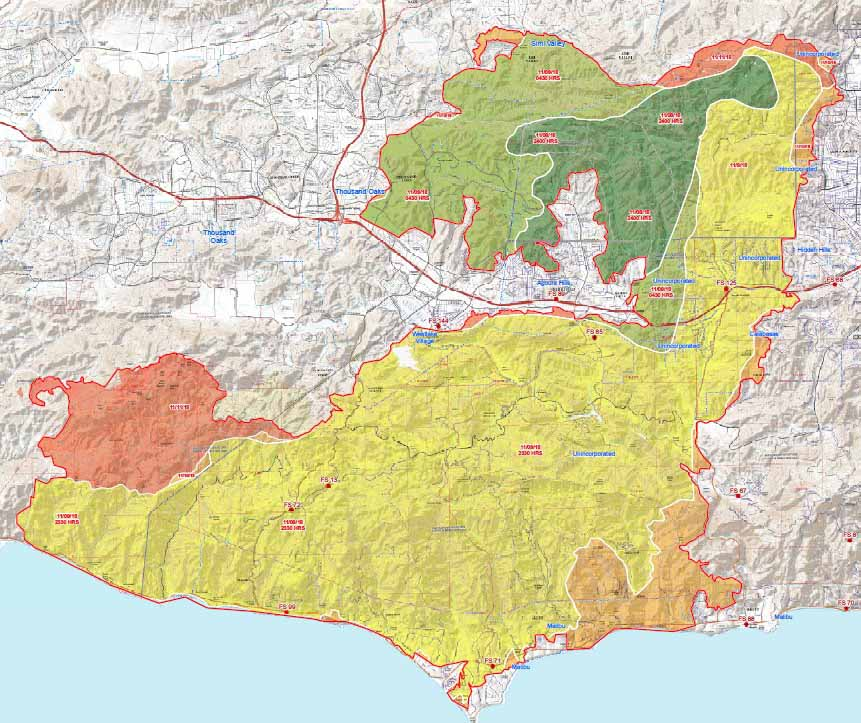 Fire Map In Southern California.Woolsey Fire In Southern California Beginning To Demobilize As